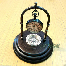 Brass Desk Clock With Wooden Base Marine Compas... - $29.00