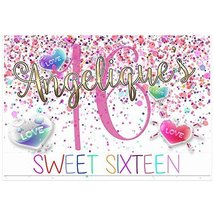 Colors Candy Personalized Sweet Sixteen 16 Birthday Banner Party Decoration - €36,05 EUR