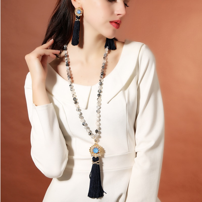Tal flower tassel necklace pendant women long acrylic beads necklace handmade boho accessories 4