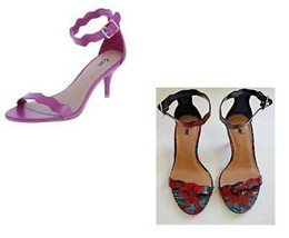 Womens Heels Sandals Fioni Pink Floral Scallop Open Toe Shoes-size 6.5 & 9 - $22.00