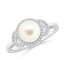 8mm Round Freshwater Cultured Pearl Diamond Halo Engagement Ring Silver/... - $538.02+