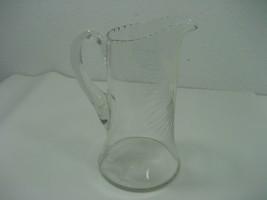 Vintage Clear Glass Water Juice Tea Pitcher Leaf Etched Detailing Design - $13.98
