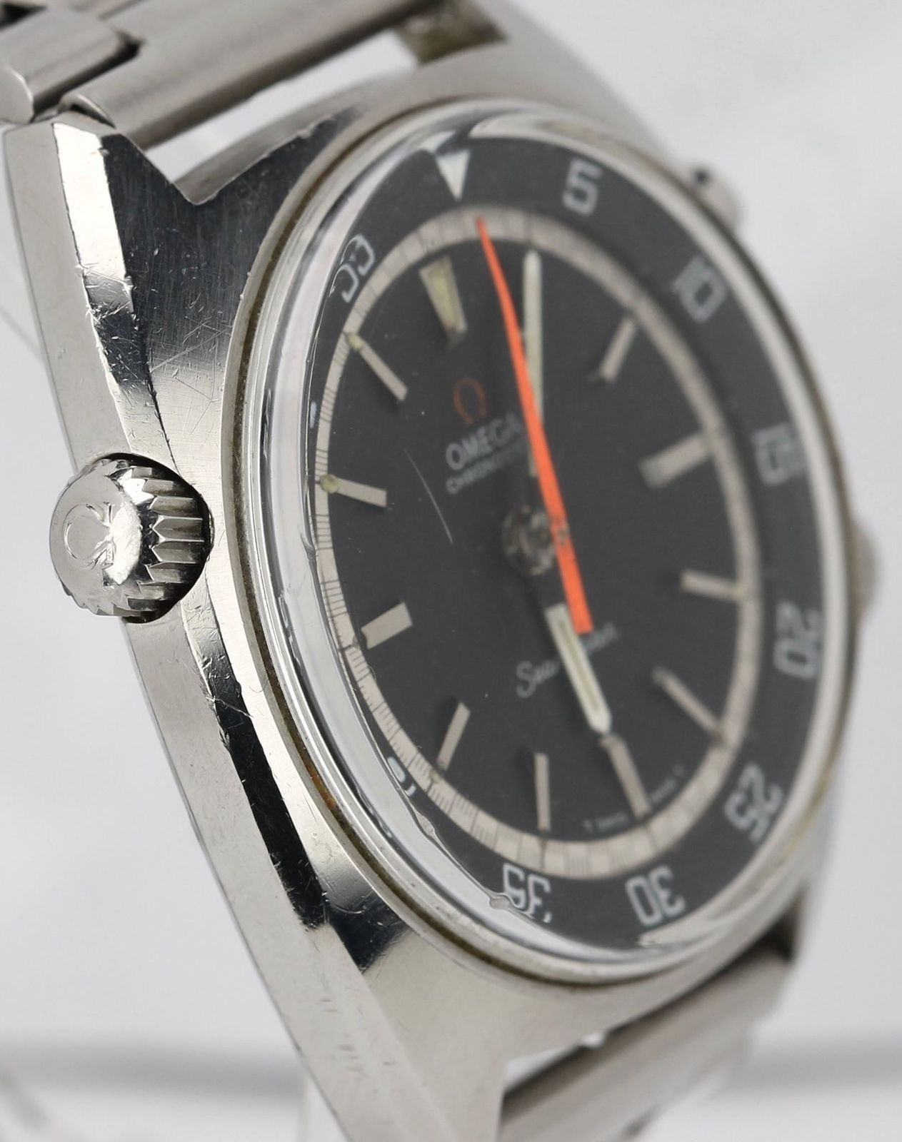 1968 / 69 Omega Seamaster Chronostop Stainless Steel Black 41.0mm Watch 145.008