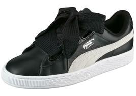 Puma Basket Heart DE Black White Leather 364082 01 Women Size 8.5 - $44.95