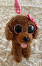 Ty Beanie Boo Brown Puppy Dog Pink Glitter Bow Keychain Backpack Toy - $6.43
