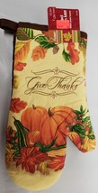 "1 PRINTED KITCHEN OVEN MITT (10.5"") HARVEST, PUMPKIN, GIVE THANKS, brown... - $7.91"