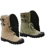 New French Ranger Boots Lace Up Canvas Army Footwear - $45.40