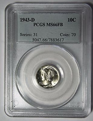 1943D Mercury Silver Dime 10¢ Coin PCGS MS66FB - Lot#SR-1214