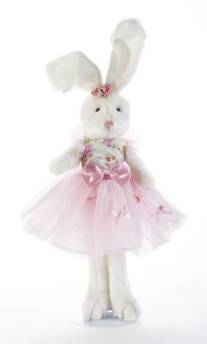 Beautiful White 16 Soft Tropical Ballerina Bunny in Pink Tutu w/Bows by Delton