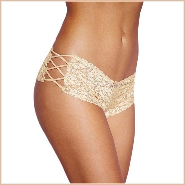 Floral Lace Open Criss Cross Sides Below The Waist Boy Cut Panties
