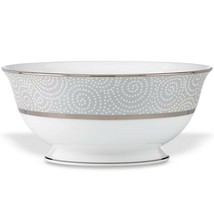 """Lenox Pearl Beads Serving Bowl Round Platinum 9 1/2"""" Made In USA 56 OZ NEW - $74.25"""