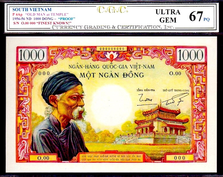 "Primary image for SOUTH VIETNAM P4Ap 1955-56 ND 1000 DONG ""The OLD MAN at TEMPLE"" PROOF note CGC 6"