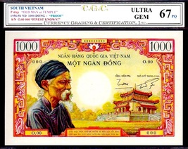"SOUTH VIETNAM P4Ap 1955-56 ND 1000 DONG ""The OLD MAN at TEMPLE"" PROOF no... - $100,000.00"