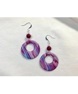 Earrings Donut Style Dangles Purple Blue Abstract Stripes Handmade Polym... - $18.00