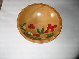 Vintage RIO GRANDE Hand Painted Woodenware Salad Bowl - Cherries        ... - $8.90