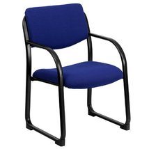 Flash Furniture Navy Fabric Executive Side Reception Chair with Sled Base - $109.59