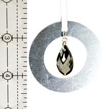 Medium Aluminum and Crystal Circle Ornament  Chrome Top image 2