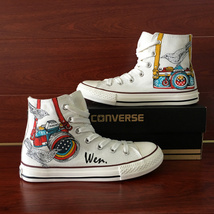 Unisex Converse Design Bird Camera Hand Painted Canvas Shoes Chuck Sneakers - $155.00