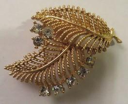 Vintage Goldtone LISNER Brooch or Pin 2 Fern Leaves w Clear Rhinestones BEAUTY - $17.96