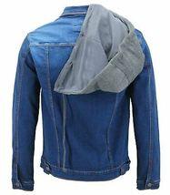 Boy's Kids Button Up Removable Hood Slim Fit Stretch Denim Jean Jacket w/ Defect image 3