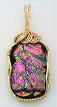 Pink Green Dichroic Glass Gold Wire Wrap Pendant 7 - $39.00