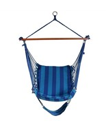 Outdoor Hanging Chair Garden Patio Blue Hammock W/ Padded Cushion Swingi... - $80.80