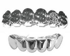Silver Mouth Teeth Grillz Upper & Lower Set - Dollar Sign - $14.01
