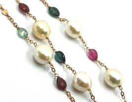 """18K ROSE GOLD LONG NECKLACE ROLO CHAIN, BIG 12mm PEARLS & TOURMALINE DROPS 35.4"""" image 5"""