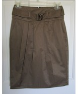 NEW BANANA REPUBLIC Brown Soft Pleat Belted Career SKIRT Pockets SIZE 0 NWT - $19.77