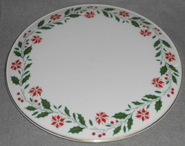 1986 Royal Doulton HOLLY PATTERN Cake Plate GOLD TRIM Holiday - Christmas - $29.69