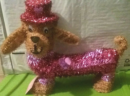 Valentines Day Tinsel Red Brown Pink Wire Dachshund Weenie Dog w/ Hat St... - $7.91