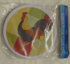 """Set of 2 STEEL STOVETOP BURNER COVERS, ROOSTER (1 big 10"""", 1 small 8"""") - $8.90"""
