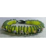 """Yellow and Olive Green Bracelet Handmade 6 1/2"""" - $13.99"""
