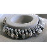 "Womens Black and Clear Beaded Bracelet Handmade 5 1/2"" - $13.99"