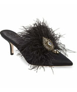 Tory Burch Elodie Feather Embellished Satin Mule Shoes Size 7 MSRP: $428.00 - $267.29