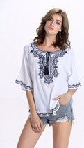 Plus Size Summer Ladies Women Summer Blouse Tops Embroidery Casual White... - £26.61 GBP