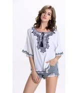 Plus Size Summer Ladies Women Summer Blouse Tops Embroidery Casual White... - £26.83 GBP