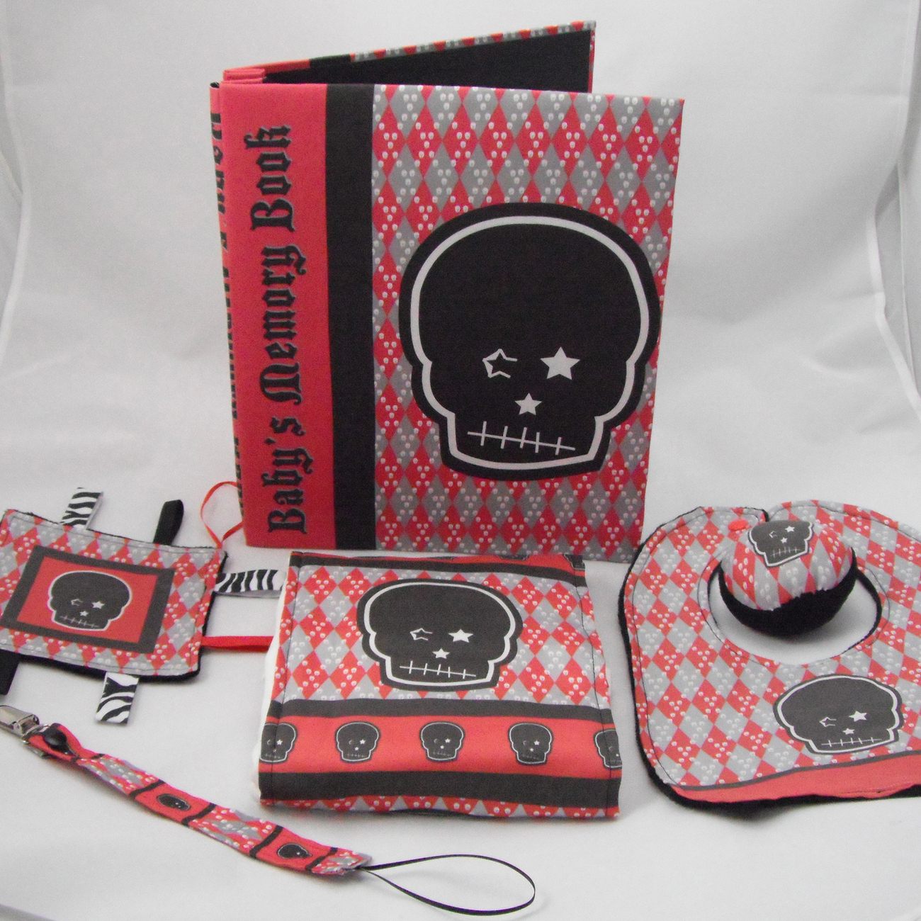 4 Pc Baby Gift Set Burp Cloth Bib Lovey Rattle Red Plaid Skull Punk Rock Gothic