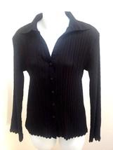 New Dressbarn S Top Black Crinkle Patterned Semi Sheer Flare Sleeve Shir... - $19.58