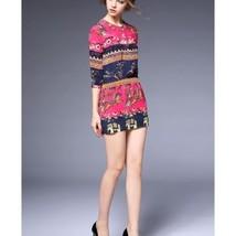 Printing Silk Slim Dress60178   rose red   S - $78.99