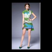 Fasionable Countryside Small Refreshing Pringting Silk Dress 60202    S - $78.99