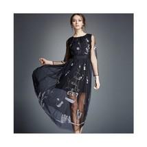 Spring Gauze Dress Delicate Embroidery Long Skirt 5289  black  S - $75.99
