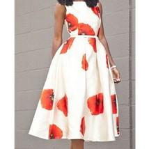 Round Collar Sleeveless Waisted Flower Printing Dress Long Skirt Full DressR5203 - $27.99