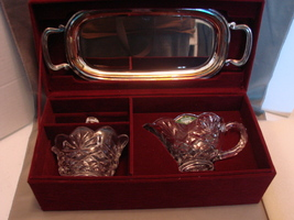Shannon Crystal Glass Creamer & Sugar w/ Lid and Silverplate Tray IOB - $14.99