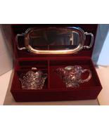 Shannon Crystal Glass Creamer & Sugar w/ Lid and Silverplate Tray IOB - $14.99