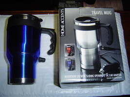 """NEW"" HOME ACCENTS STAINLESS STEEL TRAVEL MUG W/AC CAR ADAPTER - $18.50"