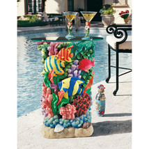 Ocean Reef Bright Fish Coral Shells Glass Top S... - $311.80