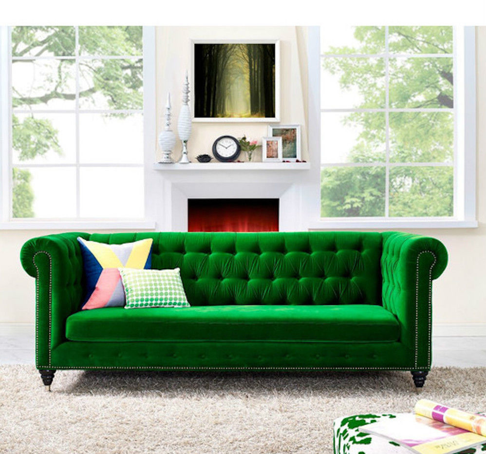 anthropologie lyre chesterfield replica sofa green velvet sofas loveseats chaises. Black Bedroom Furniture Sets. Home Design Ideas
