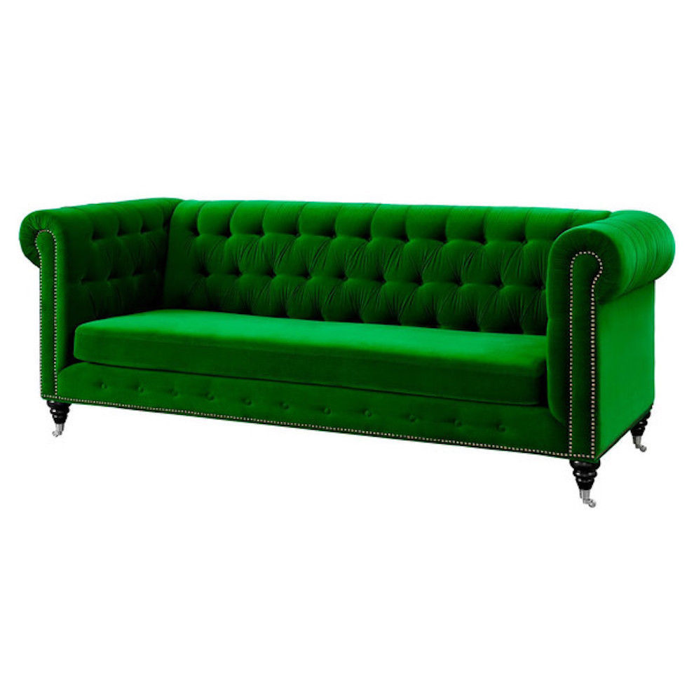 Anthropologie Lyre Chesterfield Replica Sofa Green Velvet
