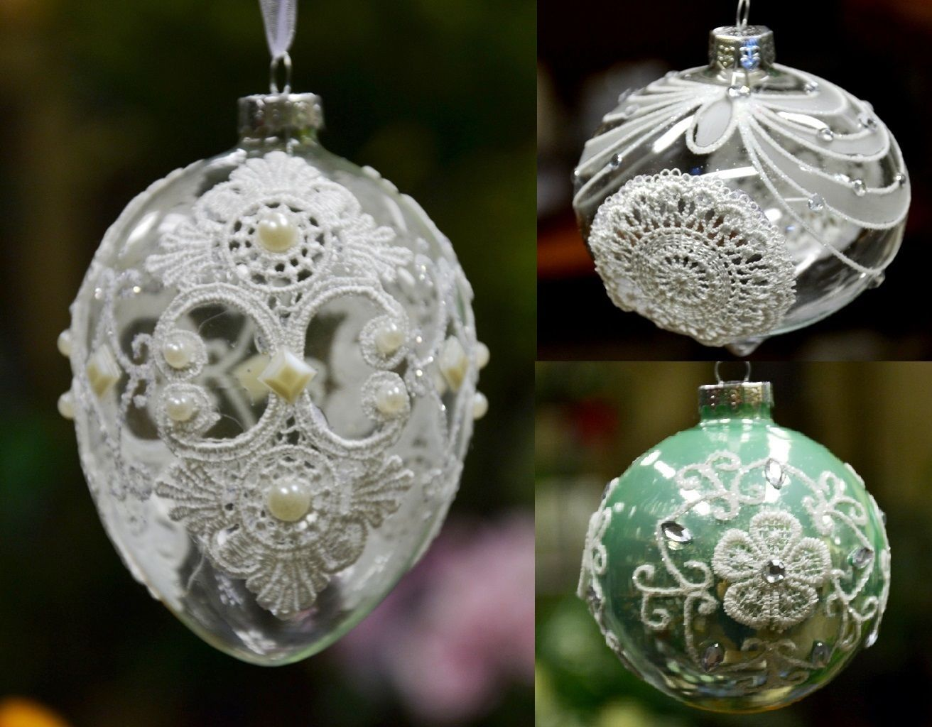 Christmas Tree Ornament Glass Ball With Laces, Bauble